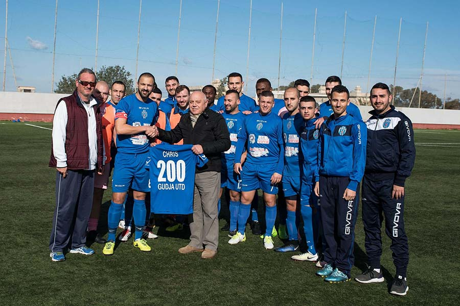 Chris Grech 200th game with Gudja United